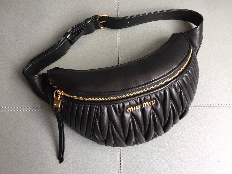 114ef69a7c5e Miu Miu Matelassé Leather Miu Rider Belt Bag 5BL008 Black 2017 ...
