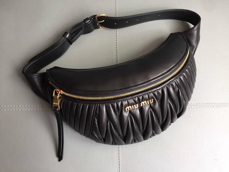 40cb82940376 Miu Miu Matelassé Leather Miu Rider Belt Bag 5BL008 Black 2017 ...