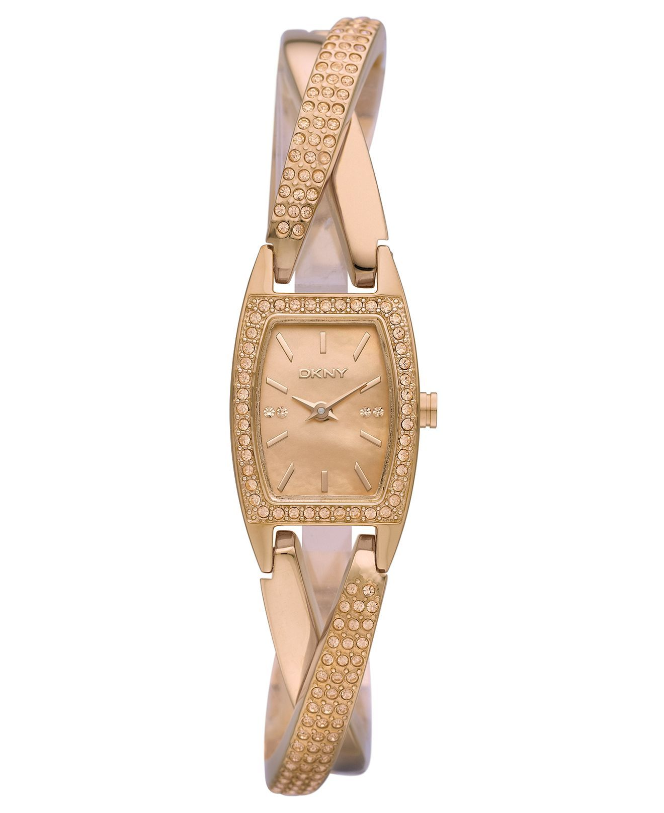 Dkny watch womenus rose gold ion plated stainless steel crossover