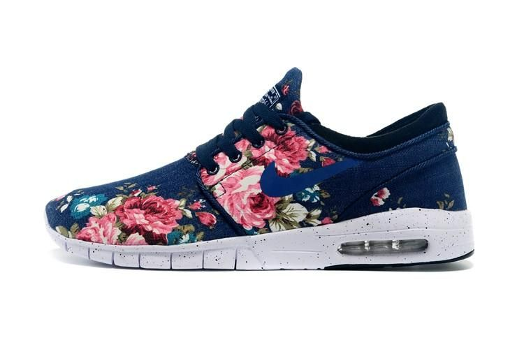 Nike SB Stefan Janoski Max Womens Shoes Flower Deep Blue 01 1