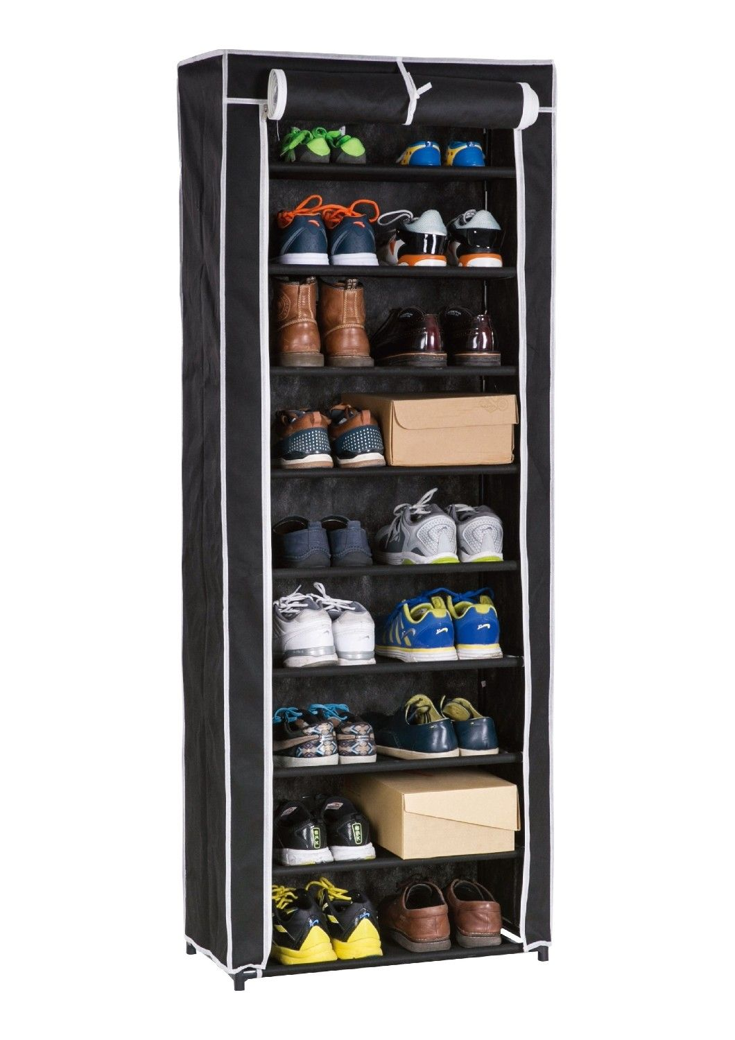 Above edge rollup tier shoe rack finish black products