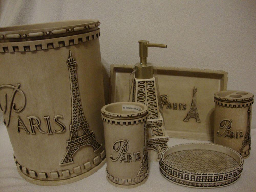 French Paris Eiffle Tower 6 Piece Bath Vanity Accessory Set New Paris Theme Bathroom Paris Bathroom Paris Bathroom Decor