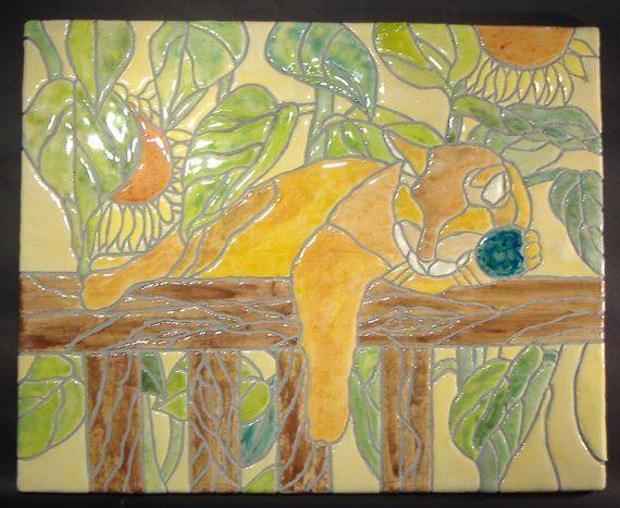 Mosaic Tile Wall Art - Custom Home Decor - Pet Plaque - Sleeping Cat ...