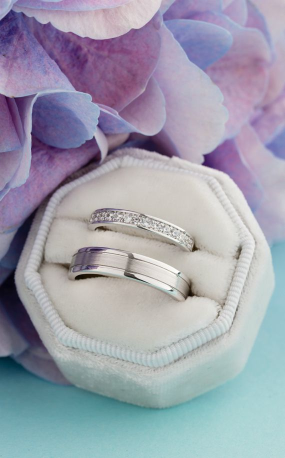 Photo of White gold wedding bands with natural diamonds. Couple rings set. Wedding rings set.