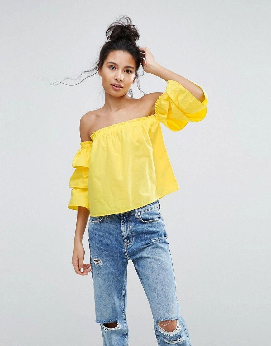 dc08f32ab9cb Bershka Layered Frill Sleeve Bardot Top - Yellow #WomenSFashionYorkdale