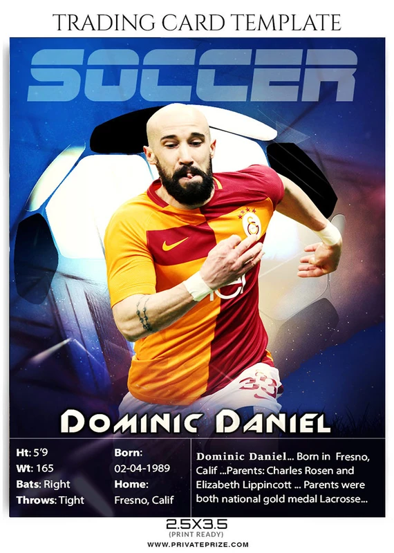 Soccer Trading Card Sports Photoshop Template Player Card Soccer Sports Cards