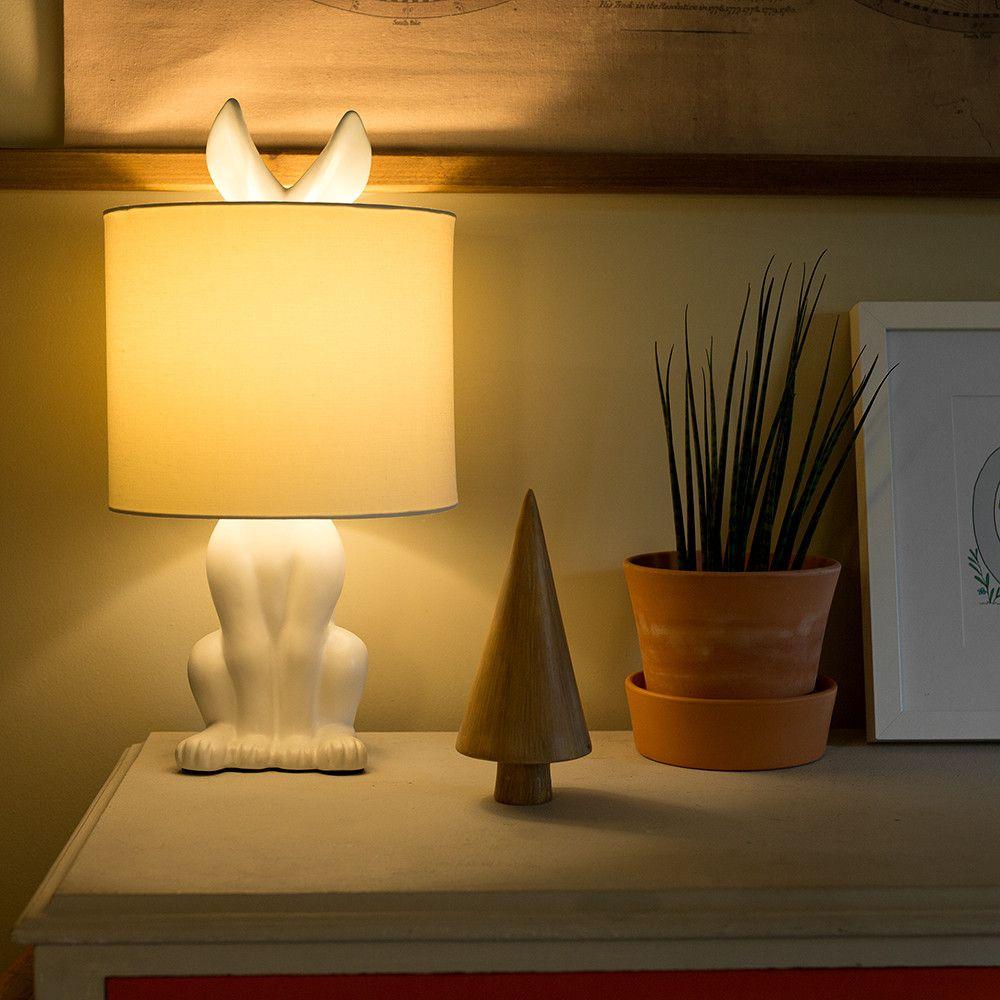 Lepus White Ceramic Hare Table Lamp Table Lamp Lamp Ceramic Table Lamps