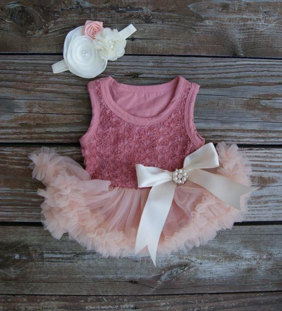The Amelia Rose Dress Vintage Pink Baby Tutu Dresses