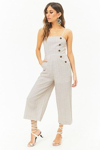 b4a573d18fad Striped Linen-Blend Button Palazzo Jumpsuit | Moda para mujeres ...
