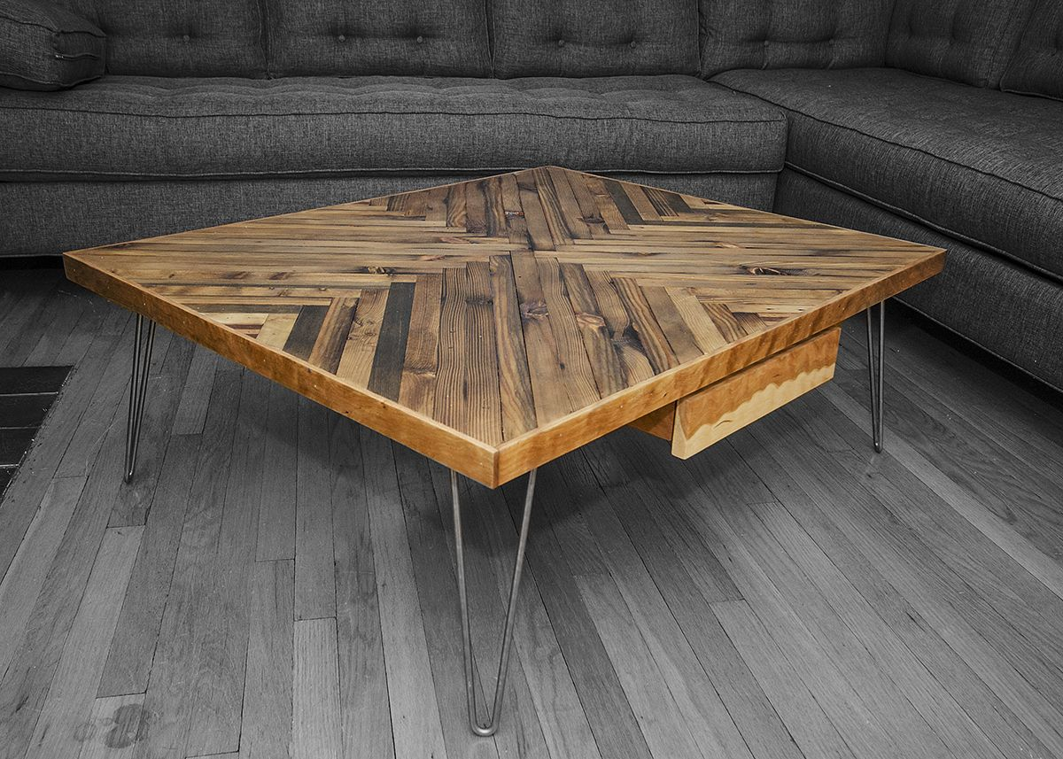 Reclaimed Wood From #Chicago Re Building Exchange And Hairpin Legs  Transformed Into Locally Made