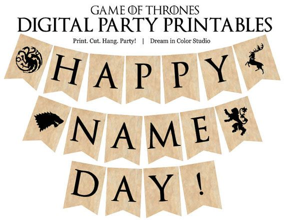 game of thrones name day digital party printable banner
