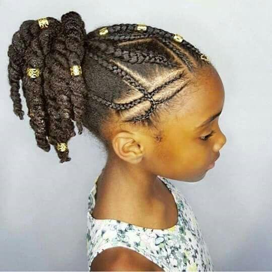 Belle coiffure cheveux crépus pour enfant.