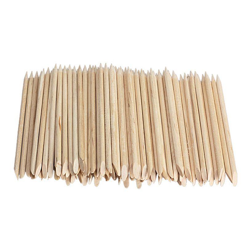 1 pack del arte del clavo de orange wood sticks removedor de cutícula pusher la forma de la espada sharp punta dos finales uñas de manicura herramientas al por mayor libre nave