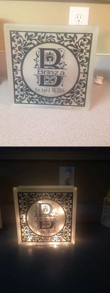 Other handcrafted home accents 160657 lighted monogrammed personalized glass craft block wedding gift home