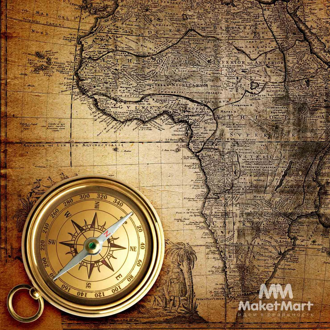 Компас, карта Африки (с изображениями)   Карта, Винтажные ...