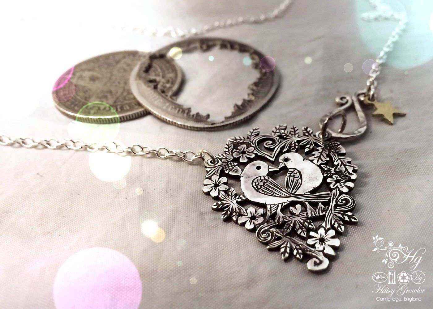 Handmade and recycled sterling silver sweet lovebirds necklace