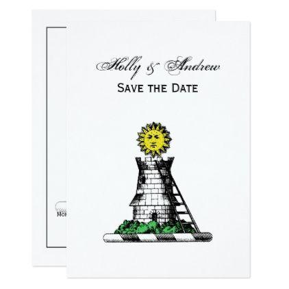 #Vintage Heraldic Medieval Castle Emblem Crest Card - #savethedate #wedding #love #card #cards #invite #invitation
