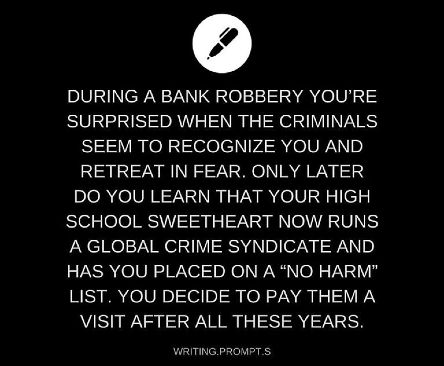 Essay bank robbery creative writing