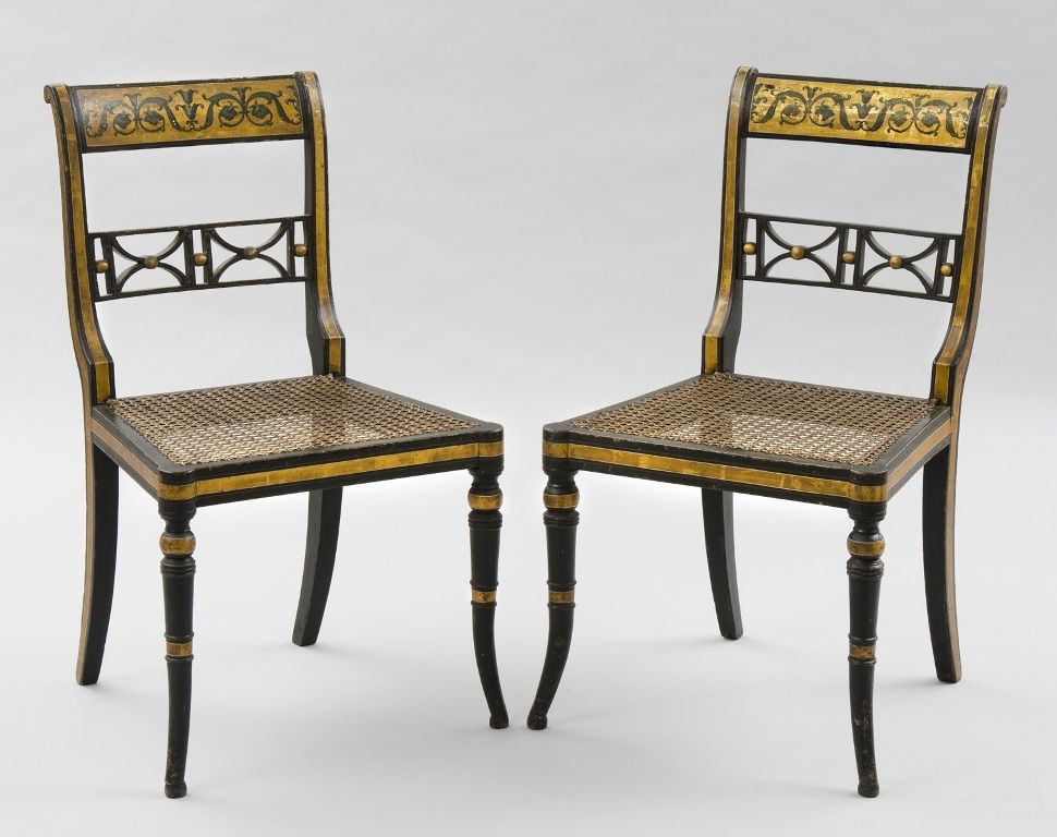 Superieur Susan Silver Antiques U2013 Pair Of English Regency Gilded U0026 Caned Antique Side  Chairs, Circa
