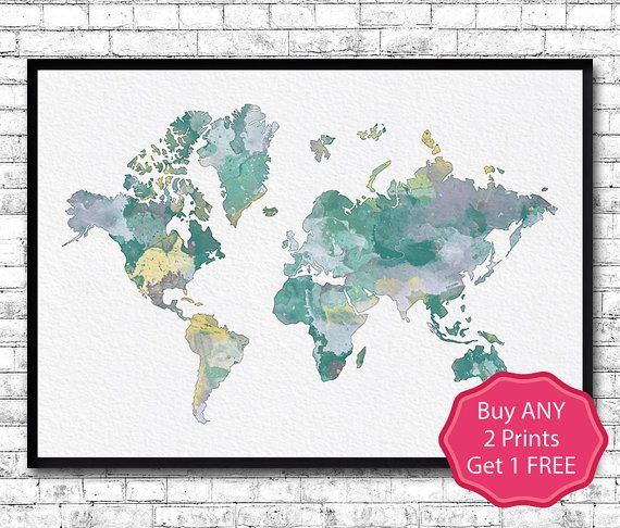 World map 11 watercolor print world map poster grey turquoise yellow world map 11 watercolor print world map poster grey turquoise yellow watercolor world map home decor wall hanging map world pastel colors gumiabroncs Image collections