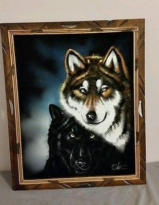 Painting On Velvet Wolf Signed Ortiz Wood Frame Vintage 22 12 X 18