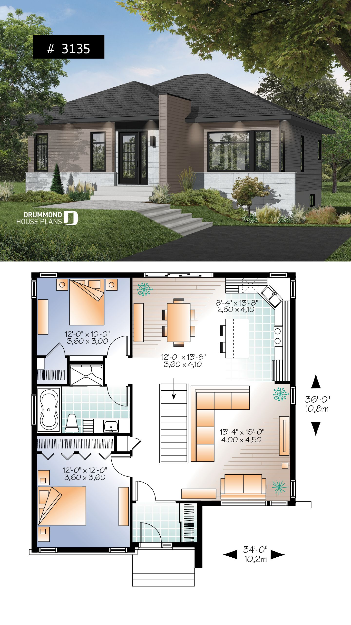 Discover The Plan 3135 Camelia Which Will Please You For Its 2 Bedrooms And For Its Contemporary Styles Modern Style House Plans Bungalow House Plans Small Modern House Plans