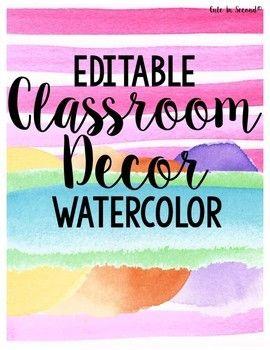 Watercolor Classroom Decor Editable Bundle Preschool Classroom