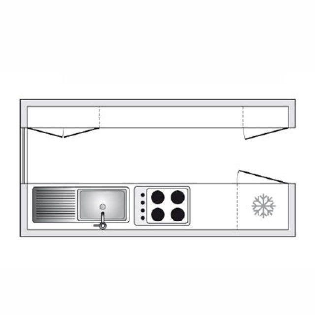 Plan de cuisine en parallèle dans une pièce en longueur - Plan Maison En Longueur