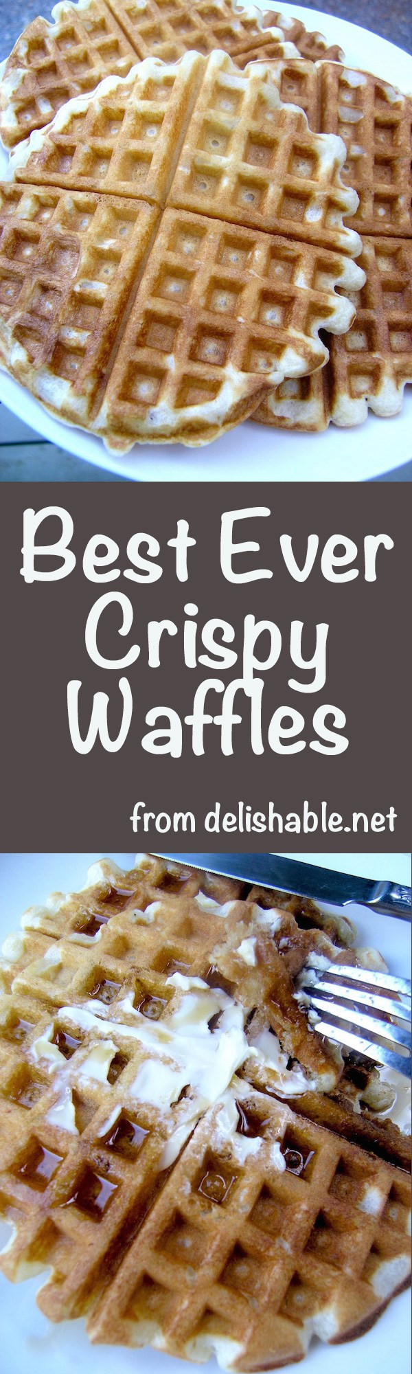 Best Ever Crispy Waffles recipe - no more limp or leathery waffles! You will be delighted with the delicate flavor and crispy texture of these waffles! | delishable.net
