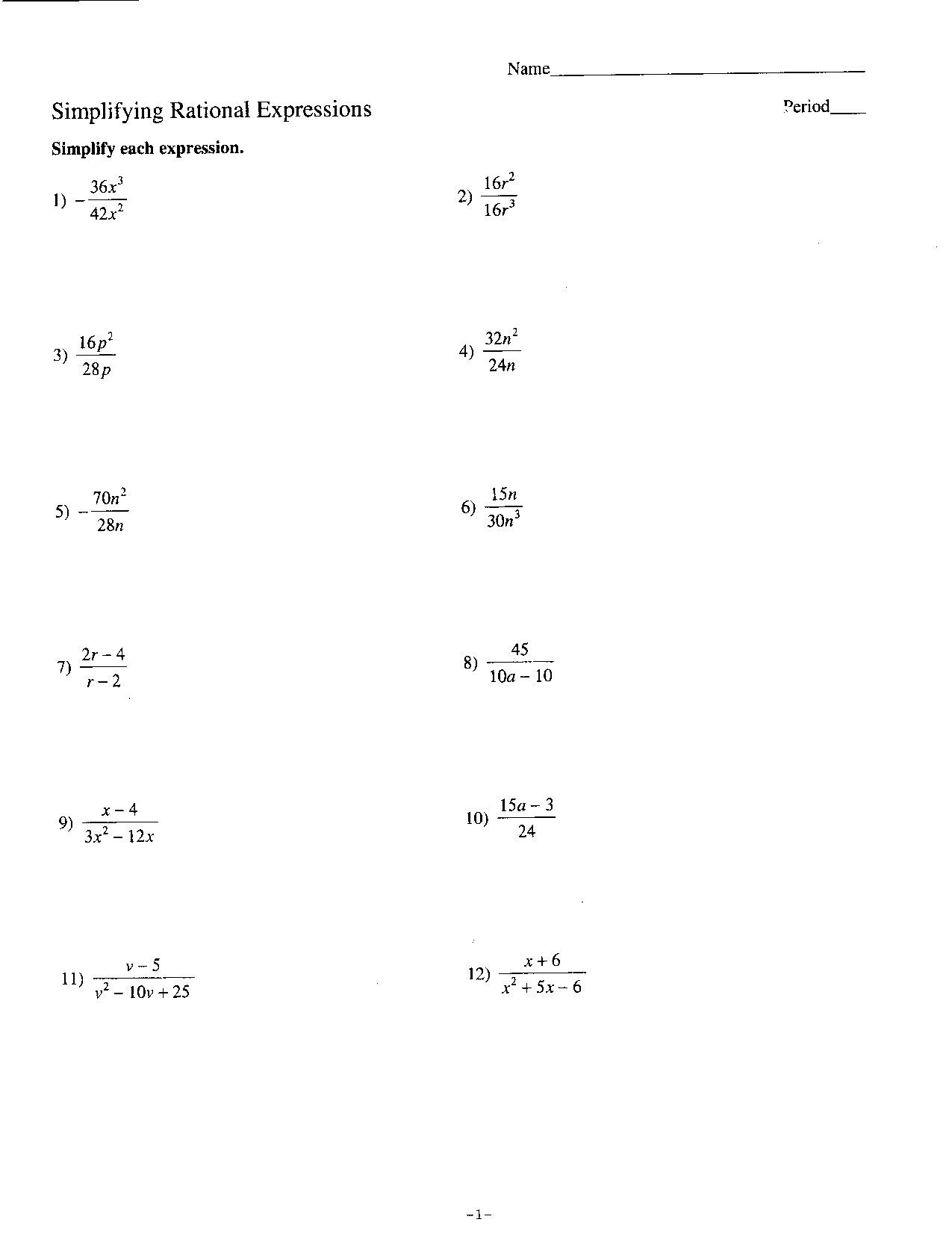 50 Simplifying Algebraic Expressions Worksheet Answers