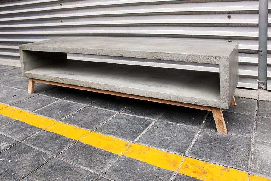 D 09046b Concrete Tv Bench With Scandinavian Oak Legs Furniture