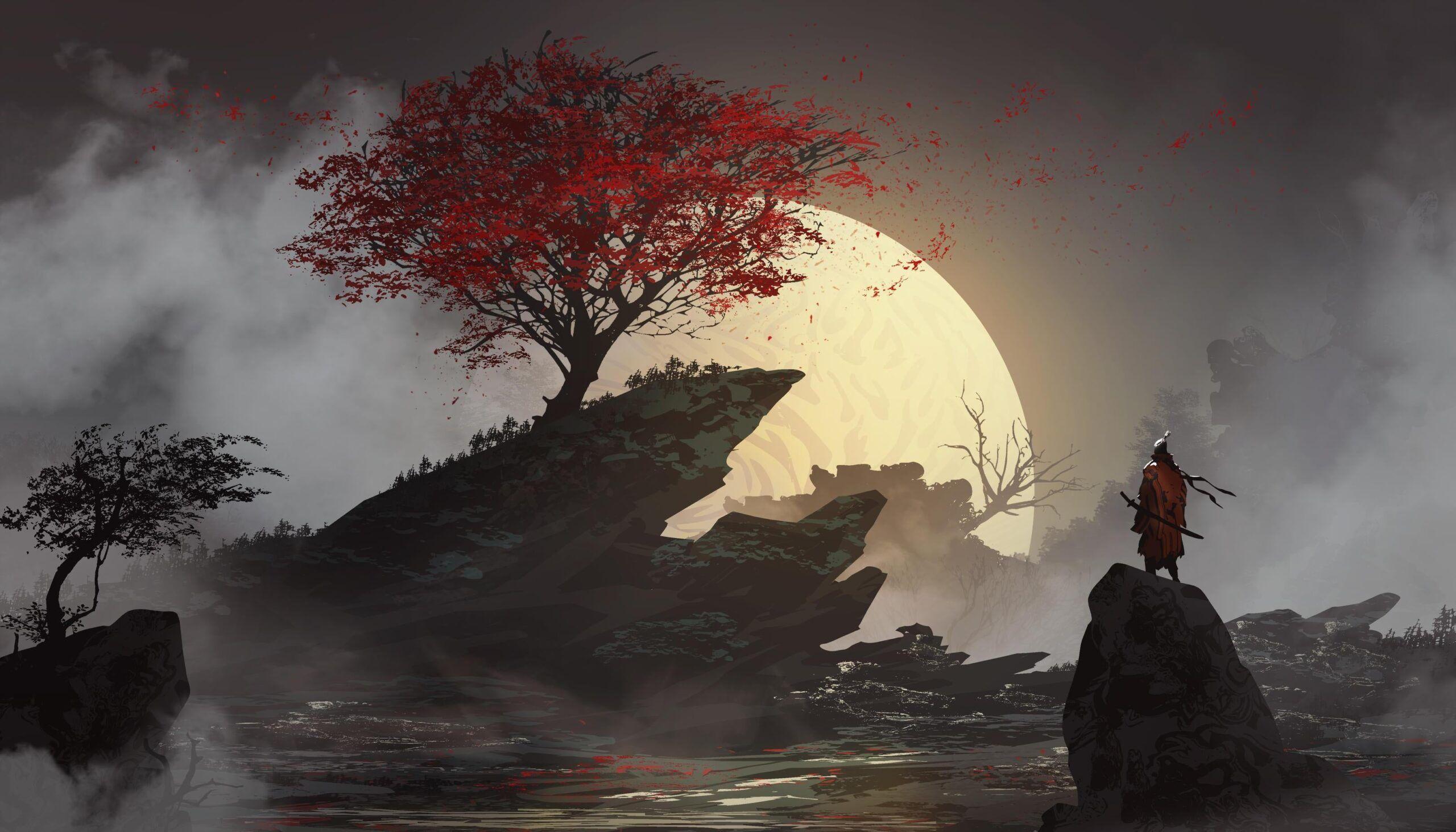 Lone Samurai In 2020 Desktop Wallpaper Art Samurai Wallpaper Anime Wallpaper 1920x1080