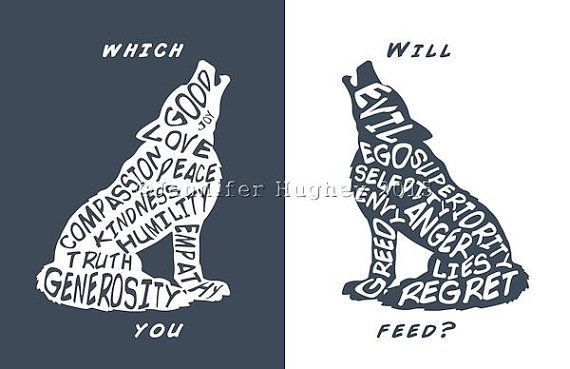 Two Wolves Quote The One You Feed Wolf Typography Two Wolves