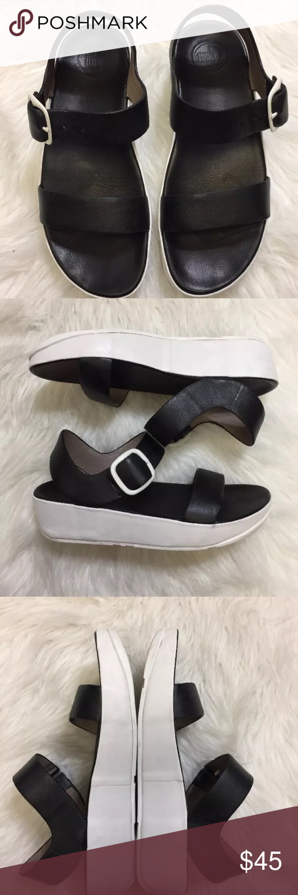 bd3bfd04d757f0 Size 8 Great condition. Lightly worn fit flop sandals. Black and white.  Clean except for bottom sole. Size 8. Fitflop Fitflop Shoes Sandals