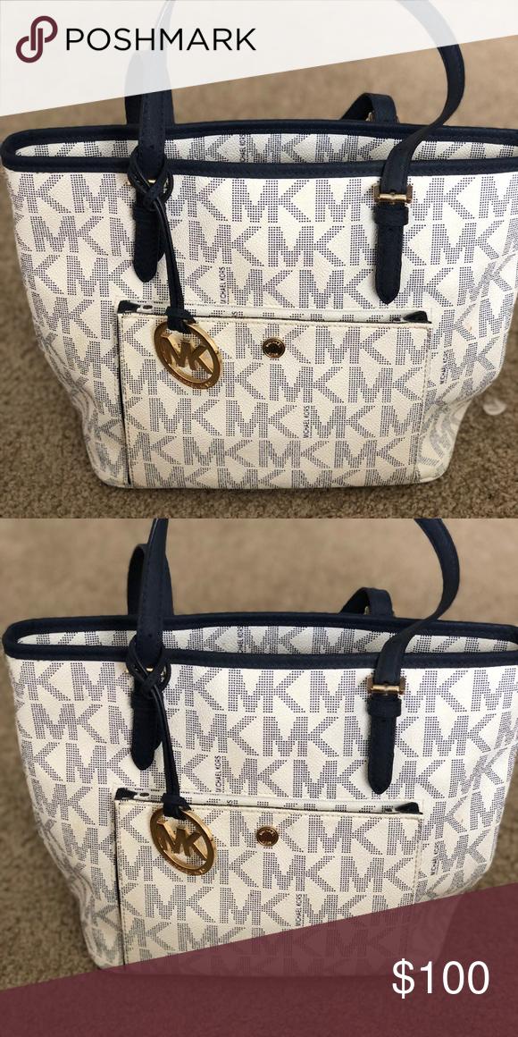 2665bf11d8b3 Michael Kors (MK) purse White with blue MK symbols. Gold MK chain. Michael  Kors Bags