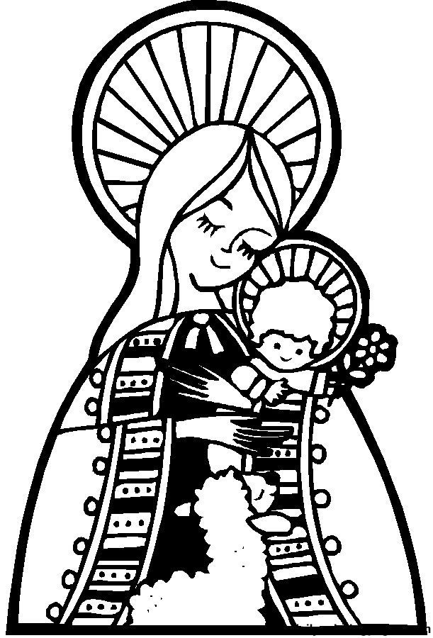 Happy Saints Mother Mary Coloring Page  Mother Mary and Rosary
