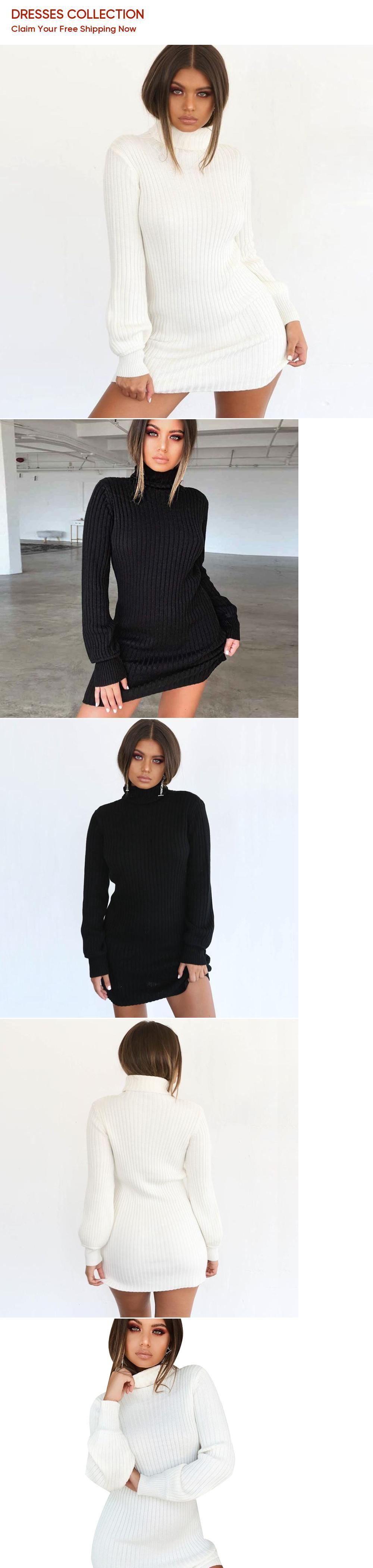 6aacfd52de572 BEFORW Autumn Casual Knitted Sweater Dress Turtleneck Long Sleeve ...