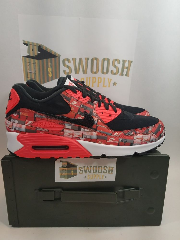 official photos 9dde9 e8fcf NIKE AIR MAX 90 PRINT BLK BRIGHT CRIMSON WHITE MEN SNEAKER Sz 10.5 AQ0926  001
