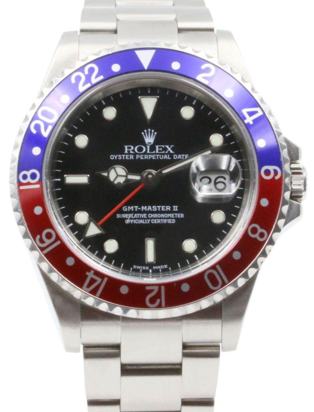 Rolex Gmt Master Ii Stainless Steel 40mm Pepsi Blue Red Bezel Black Oyster Bracelet No Holes 16710 Pre Owned Rolex Rolex Gmt Master Ii Rolex Gmt Master