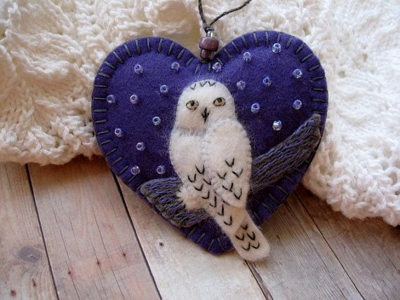 Snowy Owl Ornament in Violet by SandhraLee on Etsy