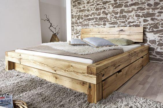 SAM® Balkenbett ELIAS Holzbett mit Schubkästen 160x200 cm