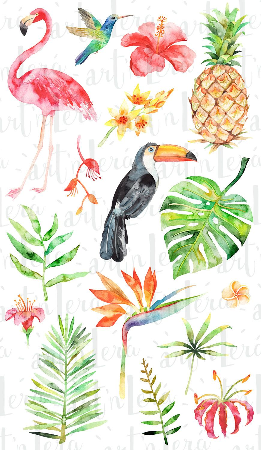 ea720ff16f Watercolor Tropical Clipart, summer, flamingo, flower, pineapple ...