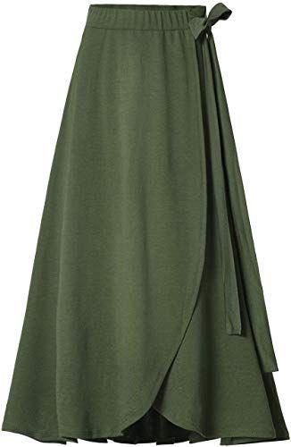New Womens Fashion Bow-Knot Flare Skirt Elastic High Waist Spring Fall Midi A-Line Knit Skirts online shopping - Looknewfashion #flaredskirt