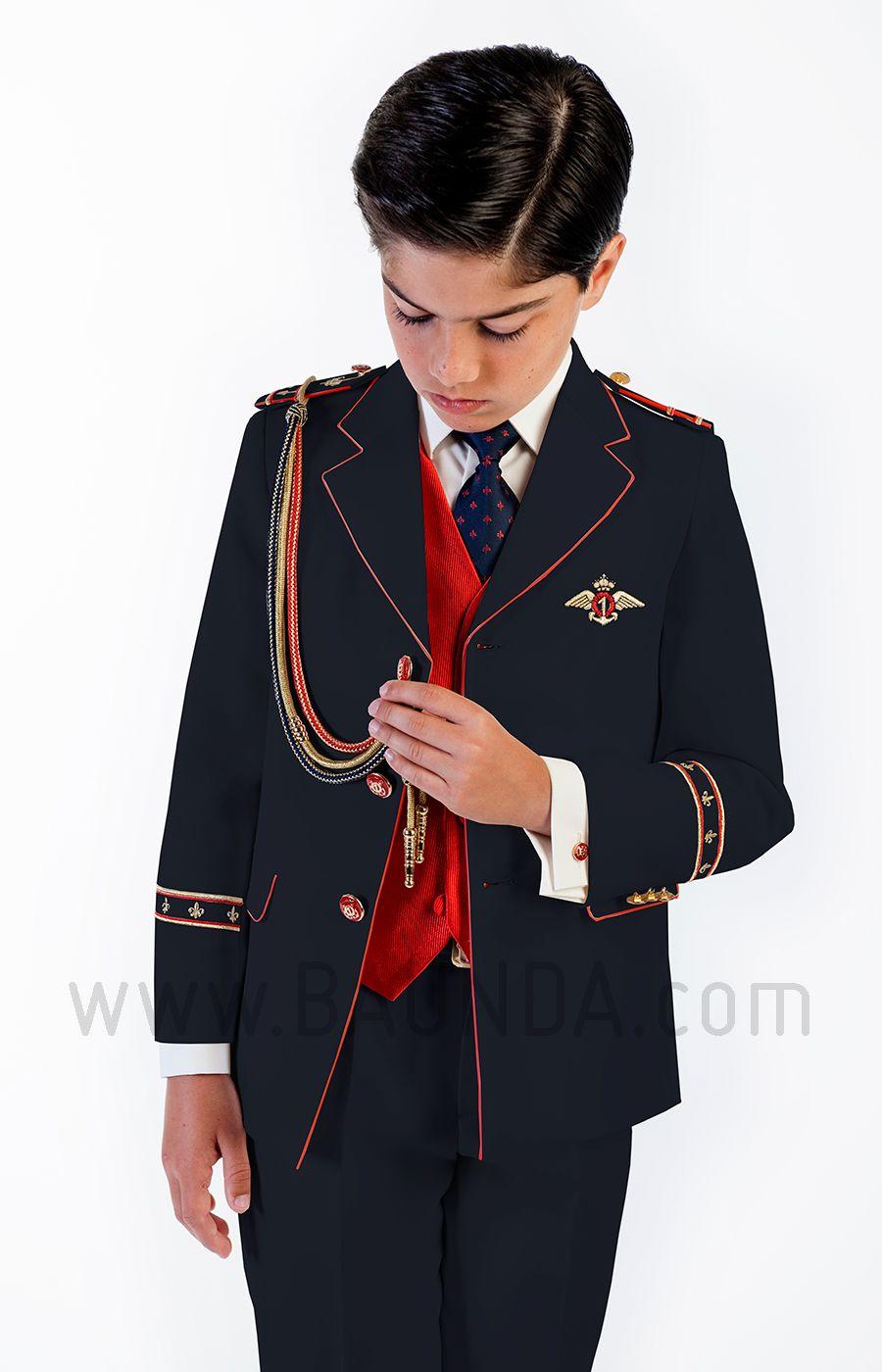 Traje de almirante rojo 2018 Varones 2058 para comunión de niño con  americana azul marino chaleco 4f6cf184a7c0