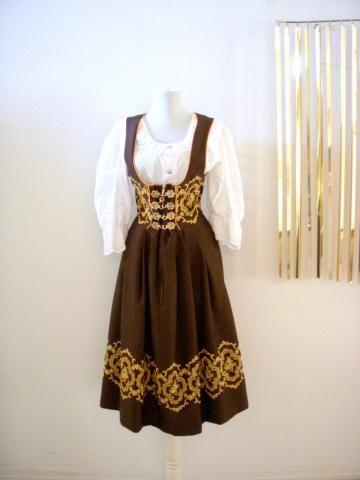 vintage 80s drindl dress with eyelet blouse brown