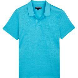 Photo of Herren Ready to Wear – Solid Polohemd aus Leinenjersey für Herren – Polohemd – Pyramid – Blau – S –