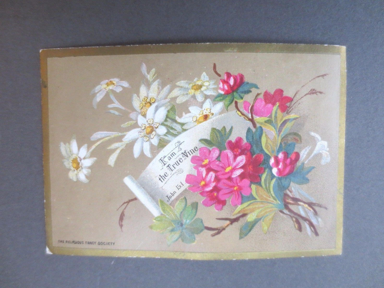 Antique Christmas Card Religious Tract Society Floral Bible Victorian Chromo