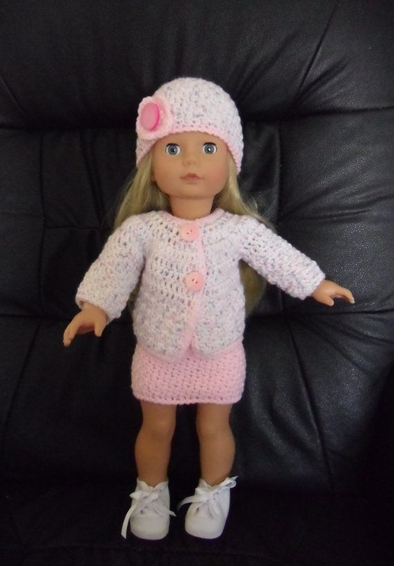 Crochet pattern for jacket, skirt and hat for 18 inch doll ...