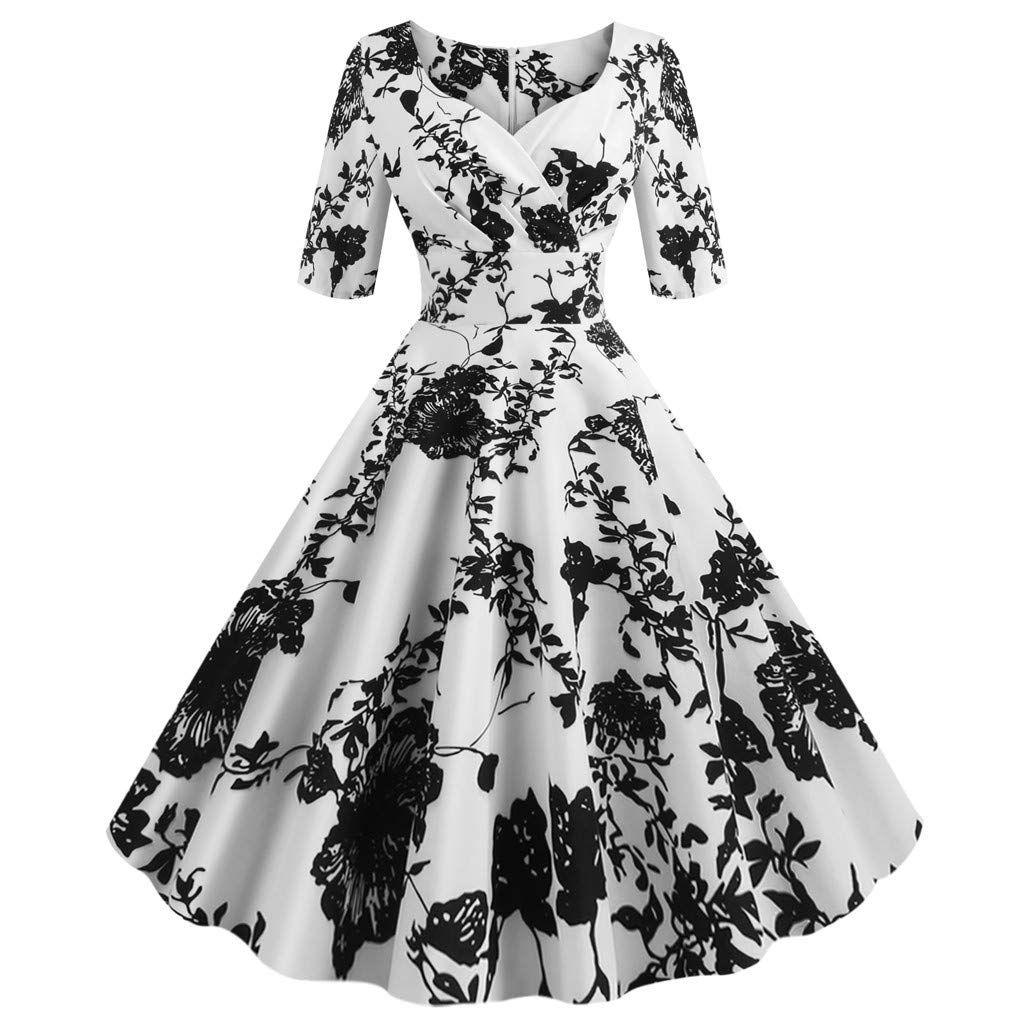Oksea Damen Petticoat Kleider Vintage 3 4 Arm Rockabilly Kleid Abendkleid Cocktailkleid Geblumt In 2020 Floral Print Midi Dress Sleeved Swing Dress Empire Waist Dress