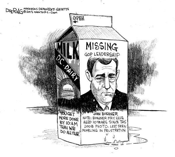 Missing GOP Leadership © John Deering,The Arkansas Democrat Gazette,boehner,missing,gop,leadership,white house,leadership